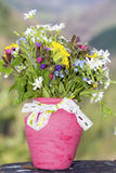 Beautiful forest  flowers in pink vase with ribbon Stock Images
