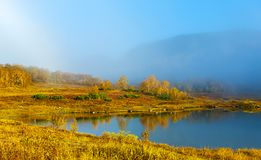 Beautiful forest lake in the autumn day. Royalty Free Stock Images