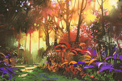 Beautiful forest with sunlight. Landscape painting of beautiful forest with sunlight,illustration stock illustration