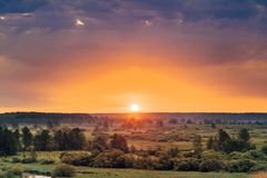 Beautiful Forest On Sunrise. Dramatic Sky With Royalty Free Stock Photo