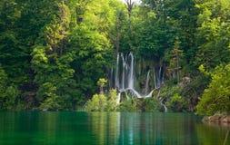 Beautiful Forest Waterfall. During spring. Plitvicka jezera. Croatia Stock Photo