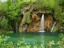 Beautiful forest waterfall. Plitvicka jezera. Croatia Stock Image