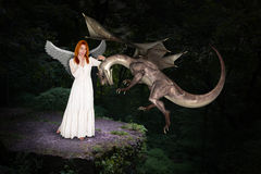 Beautiful Forest Woman and Flying Dragon. A beautiful woman who is a fairy in the forest meets and greets a flying dragon. Genre for fantasy and scifi stock images
