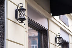 Beautiful forged lantern outdoors in the city of Lviv Royalty Free Stock Photo