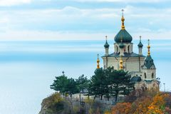 Beautiful Foros Church, Church of the Resurrection of Christ on a rock in the Crimea against the background of the sea. Russia stock image