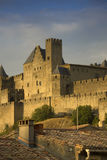 Golden evening at Carcassonne, France Stock Photography