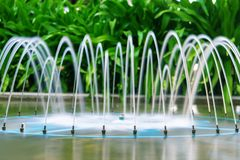 Beautiful fountain on the background of tropical plants. Garden decoration, spa, hotel. landscape design stock photo
