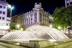 Beautiful fountain in Belgrade dowtown in Knez Mihajlova street, Serbia. In night shot Royalty Free Stock Images