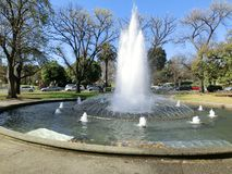 Beautiful fountain in botanic garden with spring trees, Melbourne, Victoria, Australia stock photo
