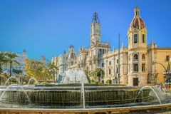 Beautiful fountain in the central square of Aiuntamiento in Valencia.  royalty free stock images