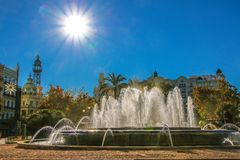 Beautiful fountain in the central square of Aiuntamiento in Valencia.  royalty free stock photo