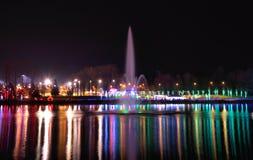 Fountain at Christmas season royalty free stock photos