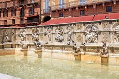 Beautiful Fountain of Joy on central square Piazza del Campo, Si stock image