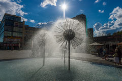 A beautiful fountain in the form of a ball Royalty Free Stock Photo