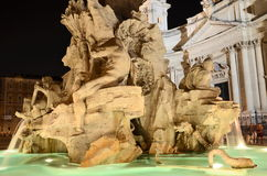 Beautiful Fountain of the Four Rivers by night on Piazza Navona in Rome, Italy Royalty Free Stock Photos