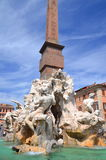 Beautiful Fountain of the Four Rivers on Piazza Navona in Rome, Italy Stock Images