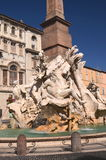 Beautiful  Fountain of the Four Rivers on Piazza Navona in Rome, Italy Stock Image