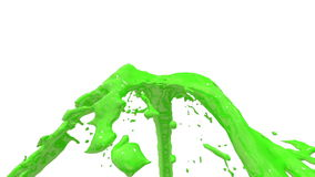 Beautiful fountain green liquid splash, fountain 3d on white background with alpha matte. Green paint stream is rising stock footage