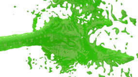 Beautiful fountain green liquid splash, fountain 3d on white background with alpha matte. Green paint stream is rising stock video footage