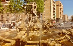 A beautiful fountain in the historic center of Catania, Italy. A beautiful fountain in the historic center of Catania in Sicily, Italy, with continuous splashes royalty free stock images