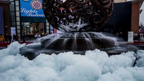 The beautiful fountain with ice at Lansegangwan shopping mall in Beijing stock footage