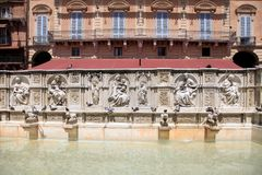Beautiful Fountain of Joy on central square Piazza del Campo, Si Stock Photos