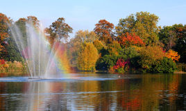 Beautiful fountain and lake in autumn. Shot of a beautiful lake and fountain on an Royalty Free Stock Photography