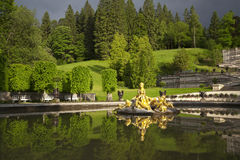 Beautiful fountain in Linderhof Castle, Germany Stock Photo