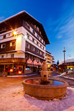 Beautiful Fountain in Megeve At Morning Stock Photos