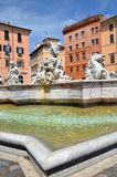 Beautiful Fountain of Neptune on Piazza Navona in Rome, Italy Stock Photography