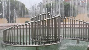 Beautiful fountain in the park stock video