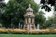 Beautiful fountain in a park in Amsterdam. Beautiful fountain in the park Sarphatipark in Oude Pijp, nicknamed the Quartier Latin, a neighborhood in Amsterdam stock images