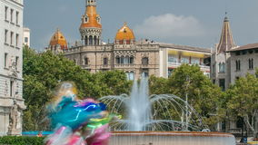 Beautiful fountain at Plaza Catalunya or Catalonia Square timelapse in Barcelona at sunny summer day, Catalonia, Spain. Beautiful fountain at Plaza Catalunya or stock video