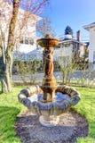 Beautiful fountain statue in backyard garden Stock Image