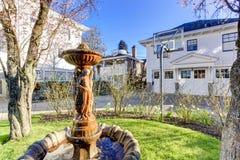 Beautiful fountain statue in backyard garden Stock Photography