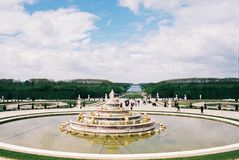 A fountain in the gardens of Versailles stock photo