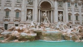 The beautiful Fountain of Trevi in the City of Rome - a famous landmark. Videoclip stock video footage