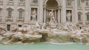 The beautiful Fountain of Trevi in the City of Rome - a famous landmark. Videoclip stock footage