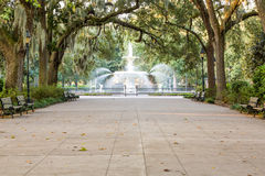 Beautiful Fountain Under Spanish Moss royalty free stock images