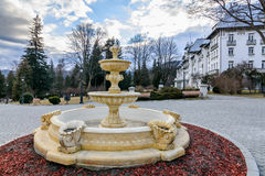 Beautiful fountain in wintertime. Cold day, nobody in the park, Royalty Free Stock Images