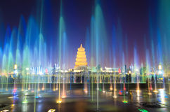 Beautiful Fountains At Night In Xian Stock Photos