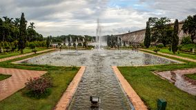The beautiful fountains in Brindavan Gardens and the Krishnaraja Sagar Dam stock photography