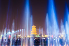 Beautiful fountains at night in xian Royalty Free Stock Photography