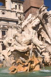 Beautiful  Four Rivers fountain  on Piazza Navona in Rome, Italy Stock Photos