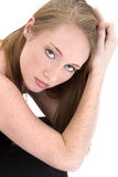 Beautiful Fourteen Year Old Girl in Black stock photography