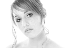 Beautiful Fourteen Year Old Girl in Black and White. Shot in studio over white Royalty Free Stock Images