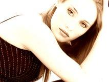 Beautiful Fourteen Year Old Girl in Sepia Stock Photo