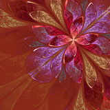 Beautiful fractal flower in beige, violet and red. Computer gene Stock Photo