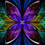 Beautiful fractal flower in blue, green and purple. Stock Image