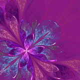 Beautiful fractal flower in blue and violet. Royalty Free Stock Images